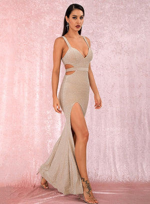 Apricot Tube Top Cut Out Slim Split Reflective Fabric Party Maxi Dress LM81931