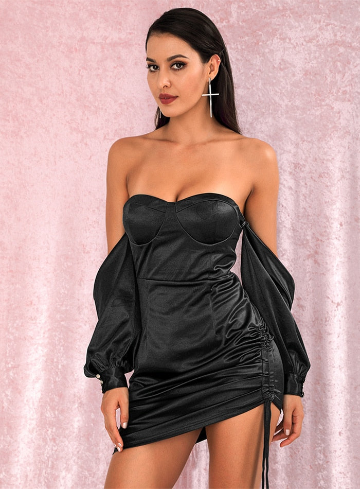 Sexy Black Off-The-Shoulder Tube Top Loose Sleeves Smocked Tiestring Bodycon Mini Party Dress LM81972