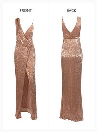 Sexy Rose Gold Deep V-Neck Whit Split Sequins Party Maxi Dress LM81849 Autumn/Winter