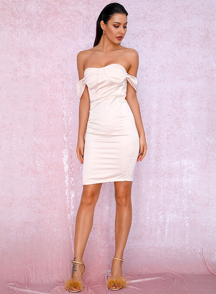 Sexy Tube Top Apricot Bodycon Party Dress LM81863