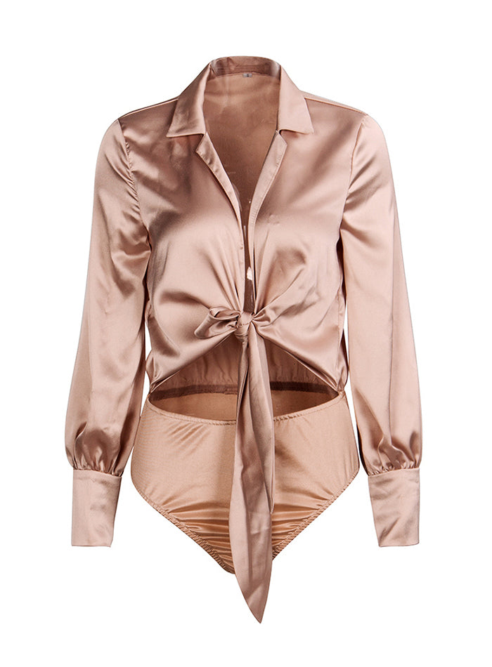 Sexy Nude Deep V-Neck Tie-Up Decoration Bodysuit LM81667 Autumn/Winter