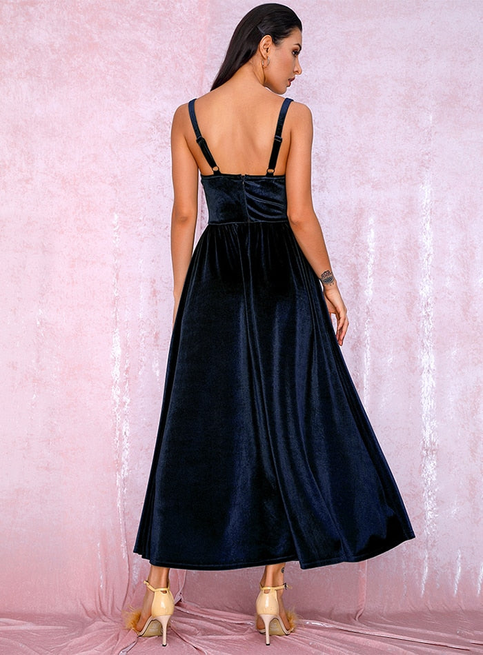 Sexy Navy Tube Top A-type Puff velvet Over the knee Party dress LM81705 autumn/winter