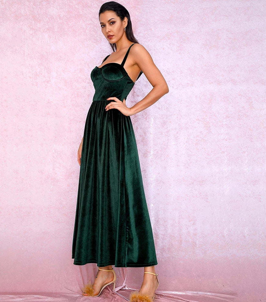 Sexy Emerald Green Tube Top A-type Puff velvet Over the knee Party dress LM81705 autumn/winter