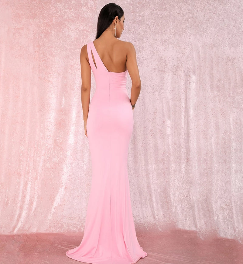 Sexy Pink One-Shoulder Cut Out Bodycon Elastic Material Split Party Maxi Dress LM81921 PINK