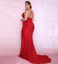 Plus size Sexy Red Deep V-Neck Cut Out Bodycon Shiny Elastic Fabric Maxi Dress LM81709PLUS autumn/winter
