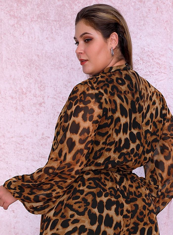 Plus Size Stand Lantern Sleeve Leopard Chiffon Blouse LM81500PLUS autumn/winter