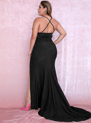 Plus size Sexy Black Deep V-Neck Cut Out Bodycon Shiny Elastic Fabric Maxi Dress LM81709PLUS autumn/winter