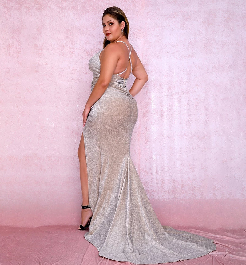 Plus size Sexy Nude Deep V-Neck Cut Out Bodycon Shiny Elastic Fabric Maxi Dress LM81709PLUS autumn/winter