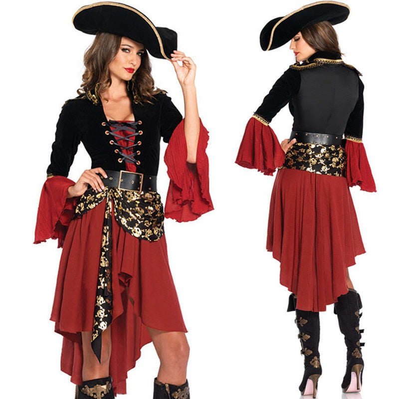 Caribbean Pirate Costumes Women Female Adult Sexy Halloween Costume Fancy Carnival Party Dress Captain Queen Cosplay Suit