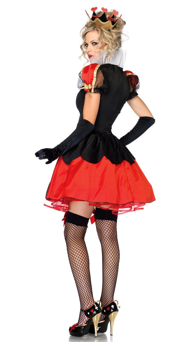 Halloween Women Alice in Wonderland Red Queen Costume Evil Naughty Queen of Heart Fantasia Party Cosplay Outfit Uniform