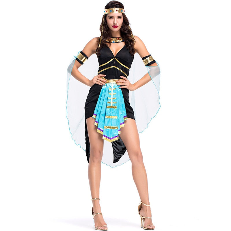 Halloween Ancient Egyptian Cleopatra Outfit Costume Sexy Queen Goddess Greek Hen Party Cosplay Fantasia Fancy Dress