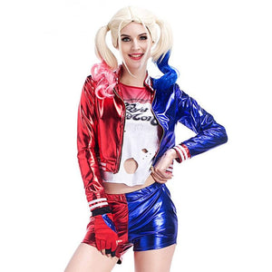 2019 New Adult Female Suicide Squad Harley Quinn Costume Full Set Outfit Cosplay Halloween Cosplay Clown Clothing Purim Party