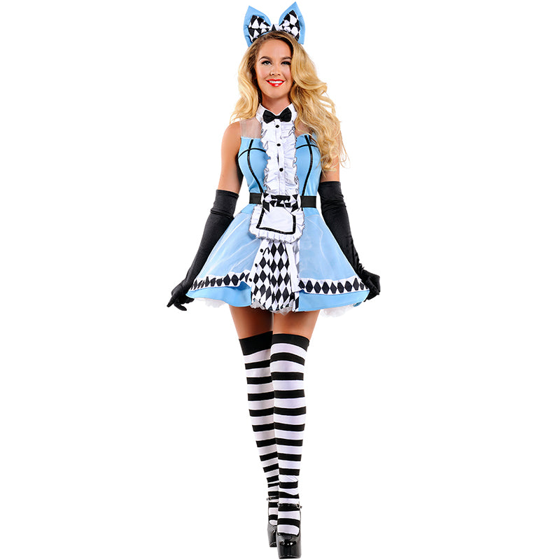 Ladies Fantasia Alice In Wonderland Costume Adult Women Halloween Kigurumi Maid Cosplay Fancy Party Dress Up Outfit