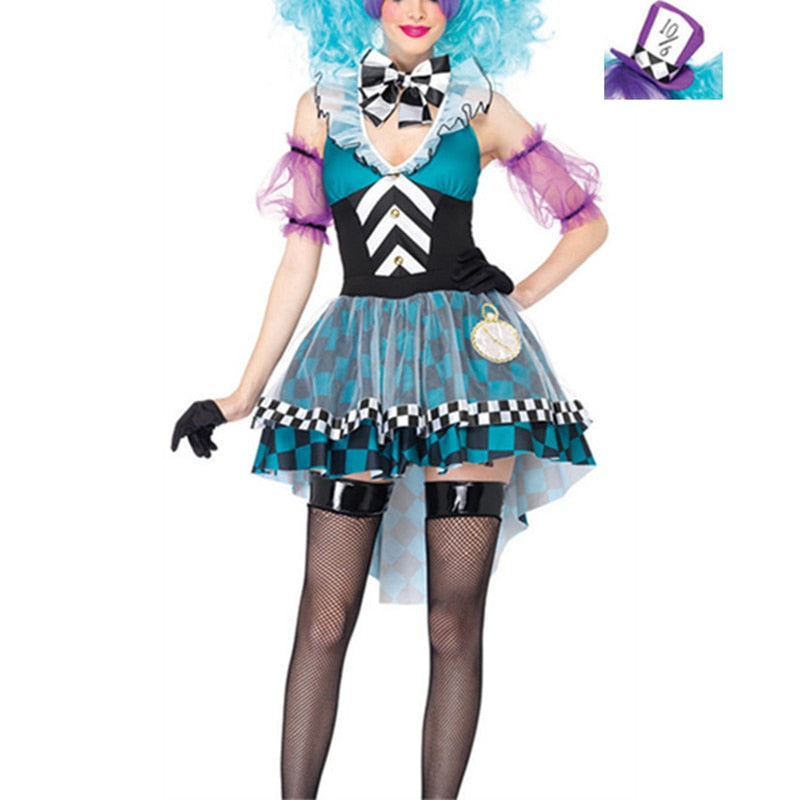 VASHEJIANG  Alice in Wonderland Mad Hatter Costume Adults Women Fantasias Magic Cosplay Halloween Carnival Magician Outfit