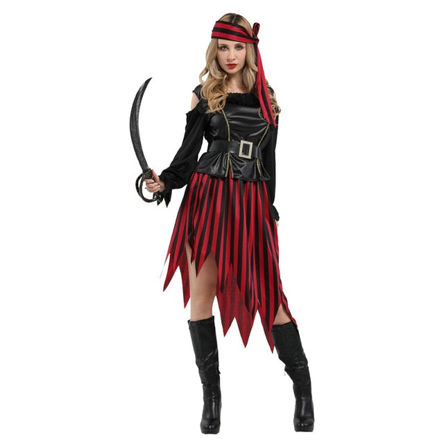 Halloween Cosplay Costume Captain pirates caribbean Jack Sparrow Pirate fantasia Adult Women Cosplay Fancy Dress Carnival