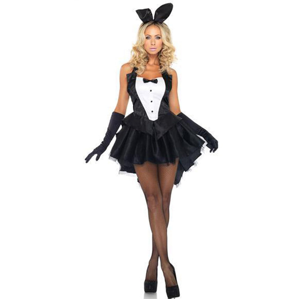 VASHE Bunny Rabbit Costumes Adult Animal Cosplay Alice in Wonderland Rabbit Costume Women Halloween Costume Clubwear Party Wear