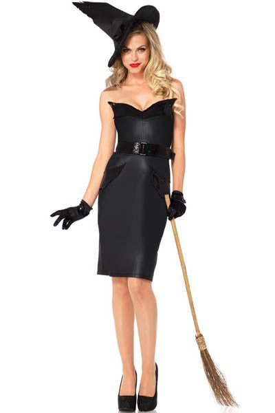 3 Pc Sequin Bodice Ruffle Fin Back Slit Pencil Dress Vintage Witch Halloween Costumes Black Dark Witch Dress With Hat L15134