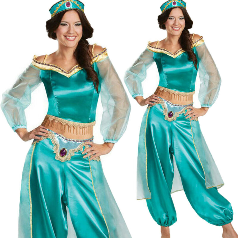 Plus Size fairy tale Adult Princess Glittery Sequins Jasmine Cosplay 2Pcs Outfit Set Halloween Party Dress Up Cosplay Costumes
