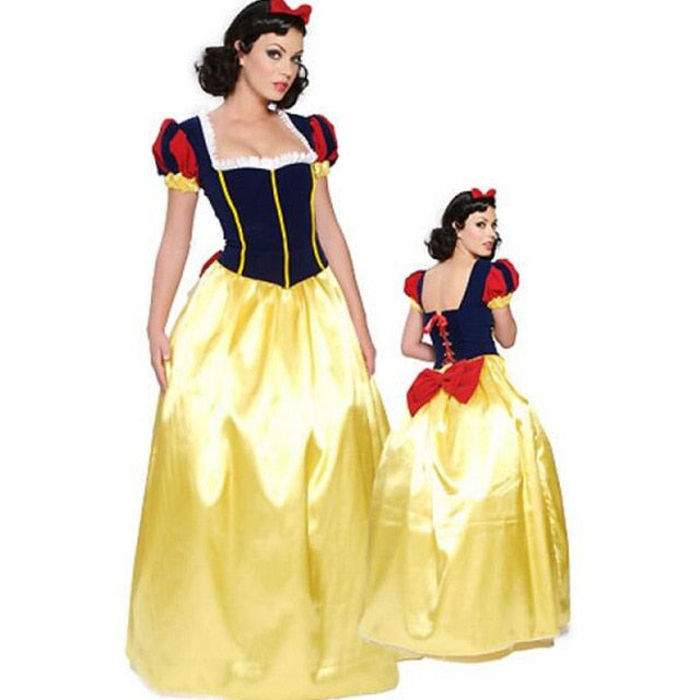 Plus Size 6XL Adult Snow White Costume Carnival Halloween Costumes for Women Fairy Tale Princess Cosplay Female Long Dress