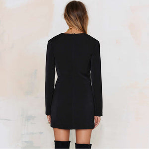 Women Fashion Sexy V Neck Short Dress Long Sleeve Solid Black Office Lady Slim Mini Dress Laveliq - Laveliqus