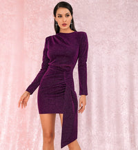 Sexy Purple Round Neck Slim Fit Ribbon Long Sleeve Glow Party Dress LM81801 Autumn/Winter