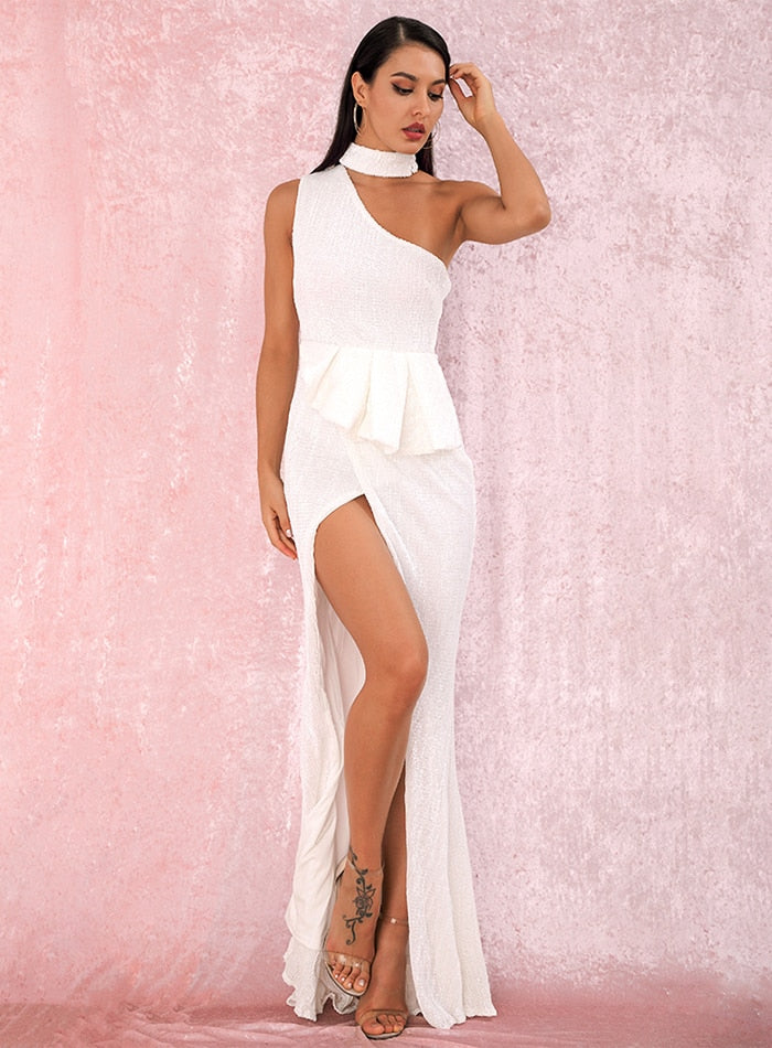 A/W Sexy White Halter Strapless Shoulders Ruffled Split Elastic Sequins Sleeveless Party MAXI Dress LM81953