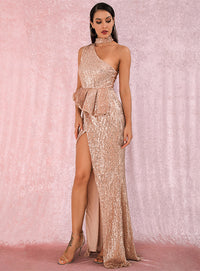 A/W Sexy Rose Glod Halter Strapless Shoulders Ruffled Split Elastic Sequins Sleeveless Party MAXI Dress LM81953
