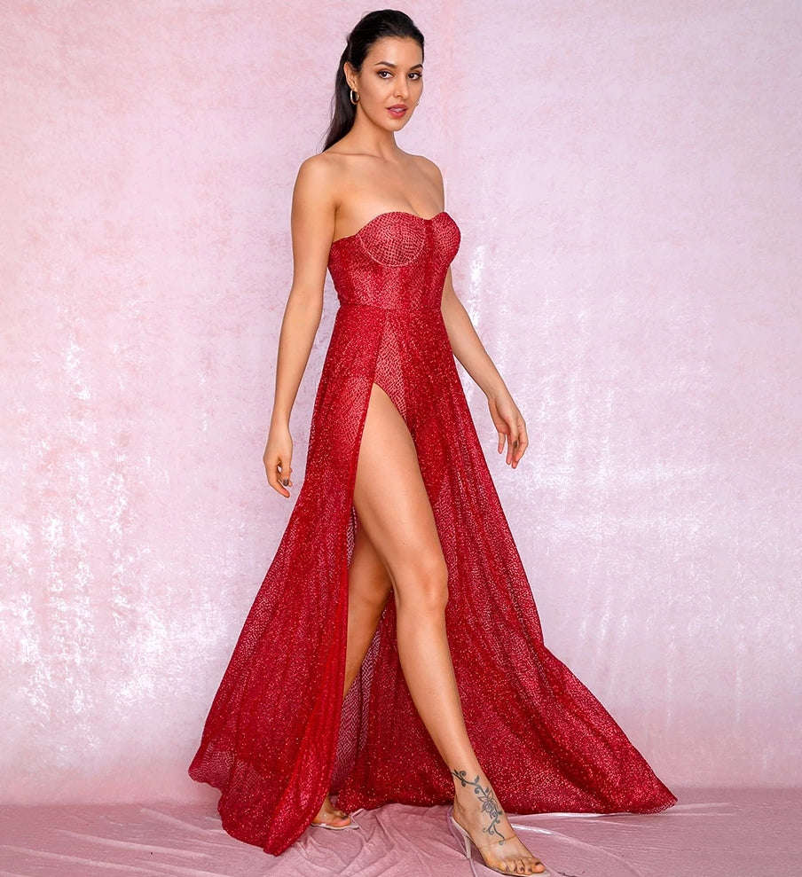 Sexy Red Strapless Tube Top Glitter Material Split Poncho Maxi Dress LM81971 Autumn/Winter