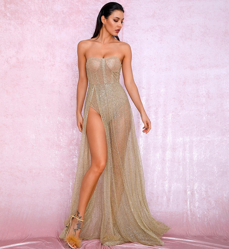 Sexy Gold Strapless Tube Top Glitter Material Split Poncho Maxi Dress LM81971 Autumn/Winter