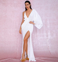 Sexy White V-Neck Single Sleeve Sequins Split Party Maxi Dress LM81848 Autumn/Winter