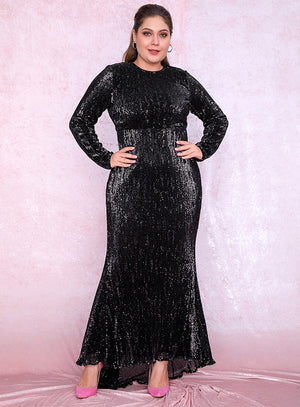 Sexy Plus Size Black 0-Neck Elastic Pleated Sequins Fishtail Shape Party Mix Dress LM81320PLUS autumn/winter