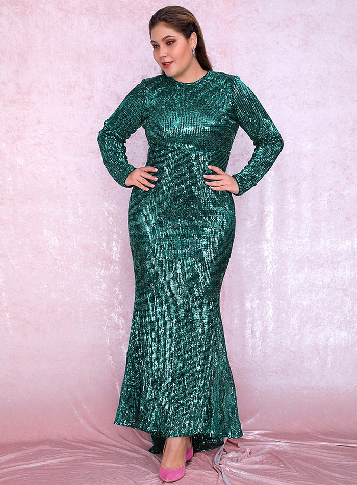 Plus Size Sexy Plus Size Green 0-Neck  Elastic Pleated Sequins Fishtail Shape Party Mix Dress  LM81320PLUS autumn/winter