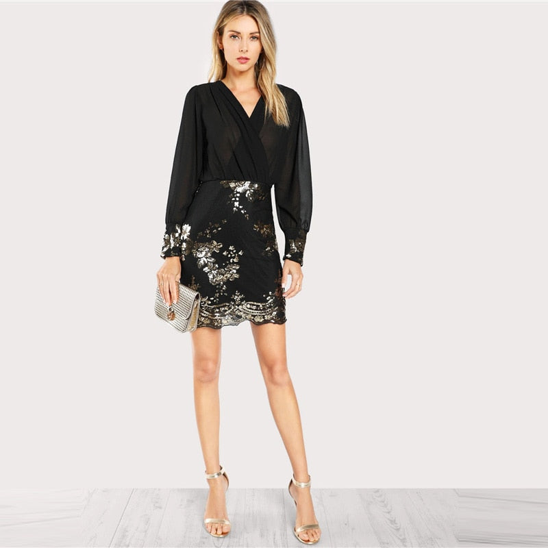 Black Sequin Flower Semi-sheer Wrap Bodice Dress Women 2019 V neck Bishop Sleeve Dress Sexy Long Sleeve Short Dresses