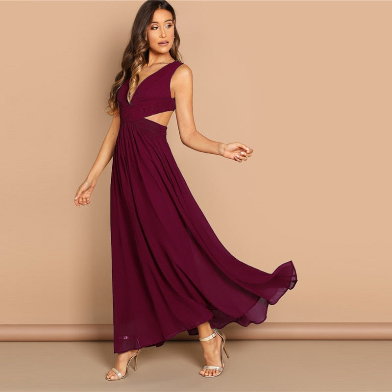 Burgundy Deep V Neck Criss Wrap Fit And Flare Maxi Dress Women A Line Dress 2019 Sexy High Waist Female Dresses