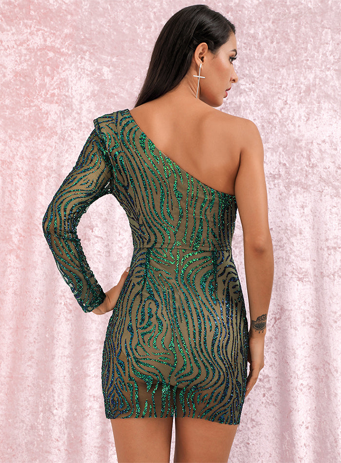 Sexy Green V-neck Glitter Glue Bead Material Bodycon Party Mini Dress LM81878-1 Autumn/Winter