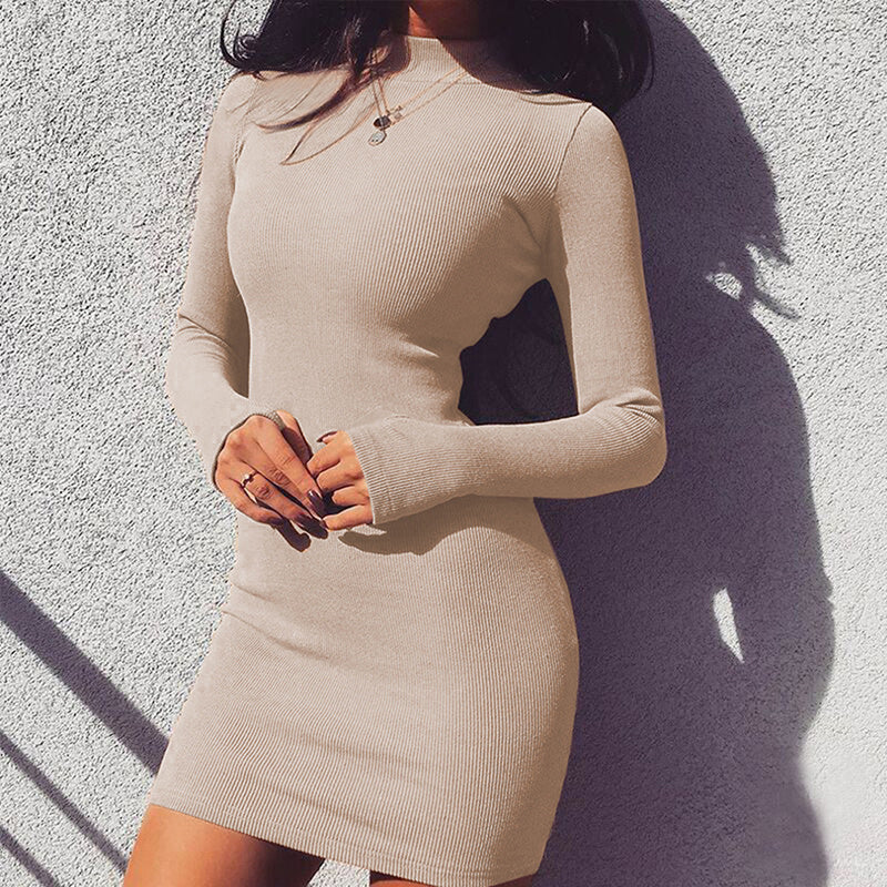 Long Sleeve High Neck Bodycon Sexy High Waist Mini Dress 2019 Spring Autumn Women Fashion Party Elegant Dresses