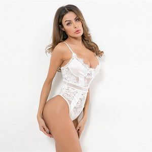 White Floral Lace Sheer Teddy Bodysuit Women 2019 Summer Solid Sexy Lingerie Cami Nightwear Ladies Sleepwear