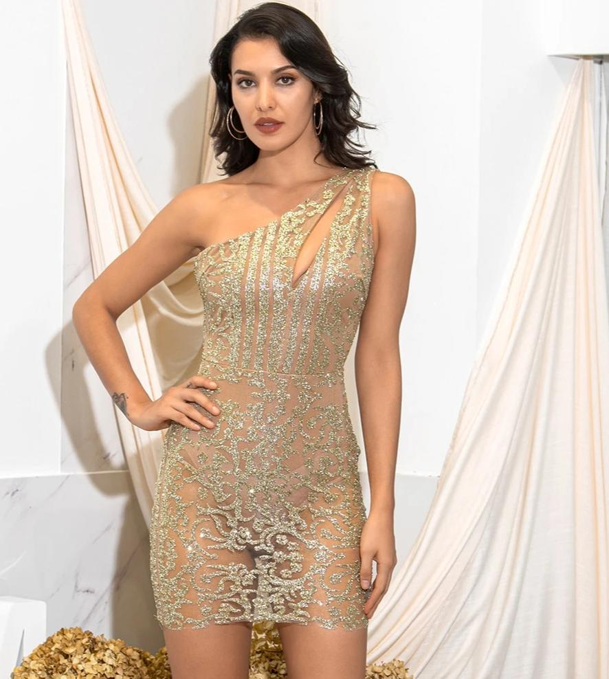 Sexy Gold One-Shoulder Cut Out Glitter Glued Material Slim Perspective Party Mini Dress LM81878-1