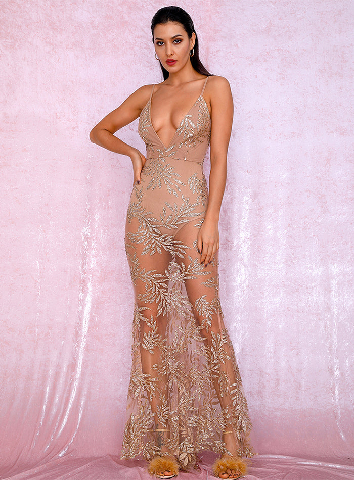Sexy Rose Gold Deep V-Neck Perspective Open Back Bodycon Leaves Glitter Glued Party Maxi Dress LM80386-1