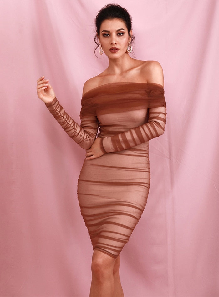 Dark Brown Sleeve Collar Long Sleeves Pleated Mesh Bandage Lined Bodycon Mini Dress LM90131