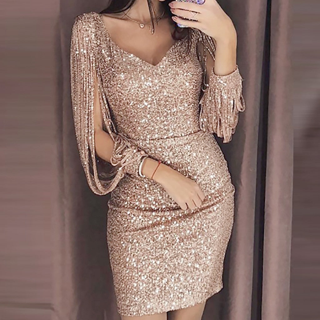 Womens Dresses Spring Summer Dress 2019 Vestidos Women Sexy Solid Sequined Stitching Shining Club Sheath Long Sleeved Mini Dress
