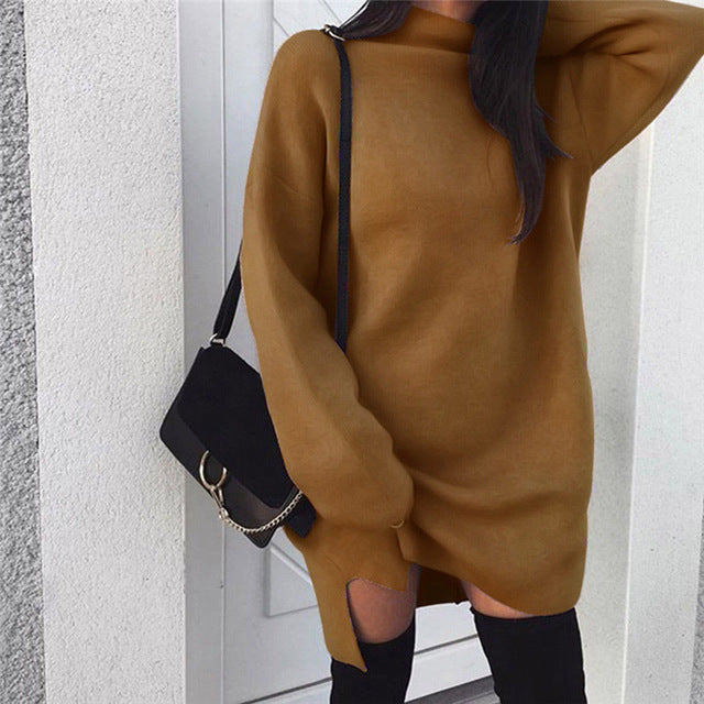 Autumn Winter Sweater Dress Women Turtleneck Long Sleeve Jumper Dresses Solid Knitted Pullover Loose Sweaters Women Vestidos