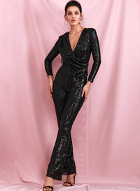 Sexy Black Deep V-neck Draped Elastic Sequins bodycon Long Sleeve Party Jumpsuit LM82187