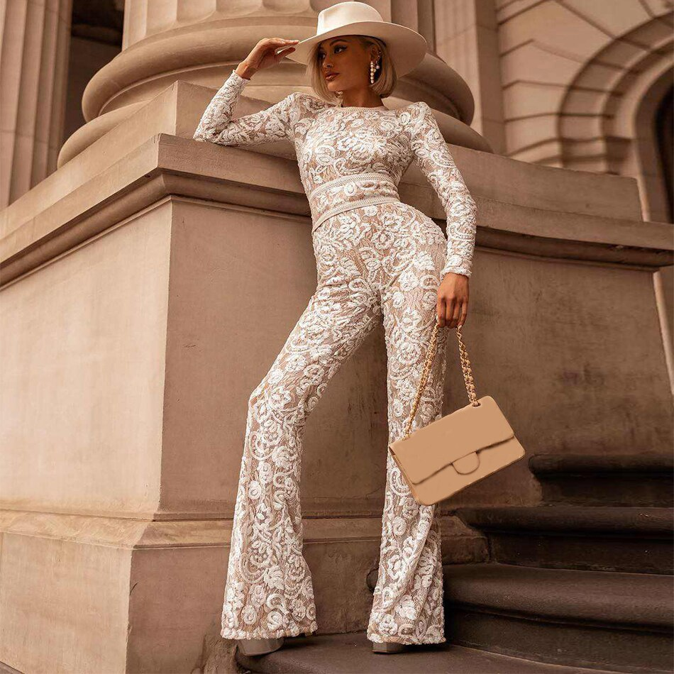 Newest Summer Celebrity Party Bandage Jumpsuit Women Lace Long Sleeve O-Neck Sexy Runway Full Length Jumpsuit Women Vestidos