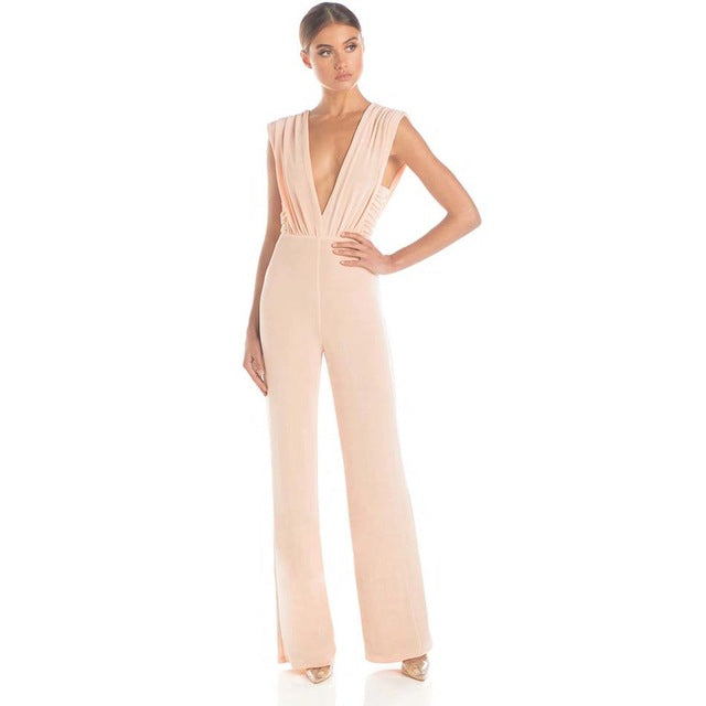 Newest Summer Celebrity Party Jumpsuit Women Sleeveless Deep V-Neck Sexy Night Out Club Full Length Jumpsuit Women Vestidos