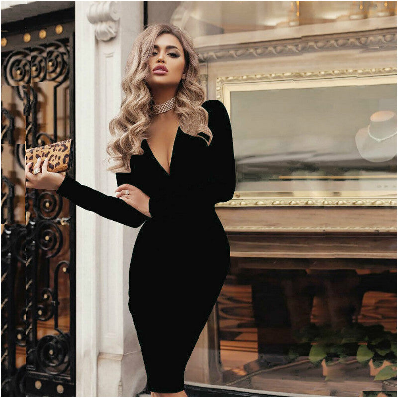 Fashion Women Summer V-neck Long Sleeve Bandage Bodycon Office Lady Solid Dress
