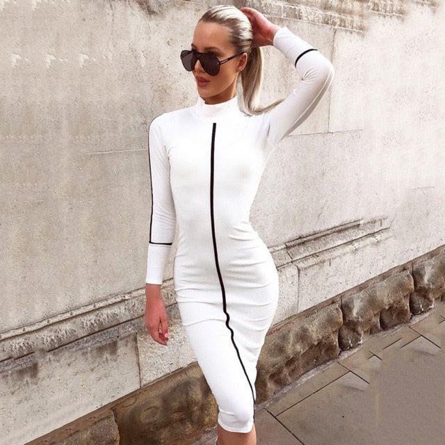 Women Long Sleeve Slim Wrap Hips Midi Dress Turtleneck Pencil Striped Autumn Dress Winter Streetwear Bodycon Dresses White Black