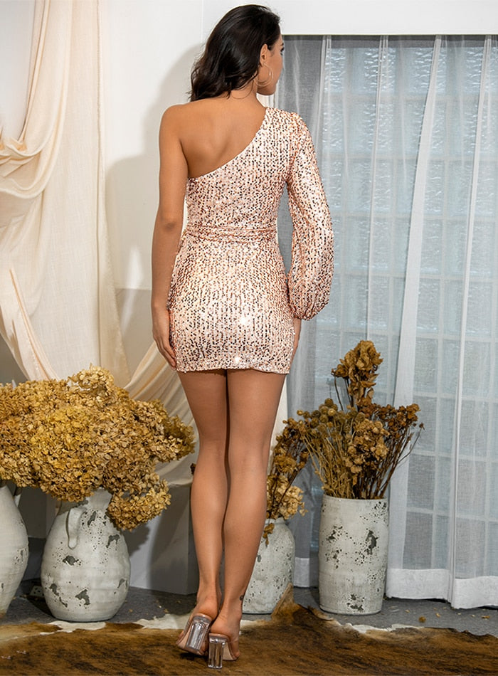 Sexy Rose Gold One Shoulder Mesh Sequins Lantern Sleeve Bodyon Cross Mini Dress LM82106