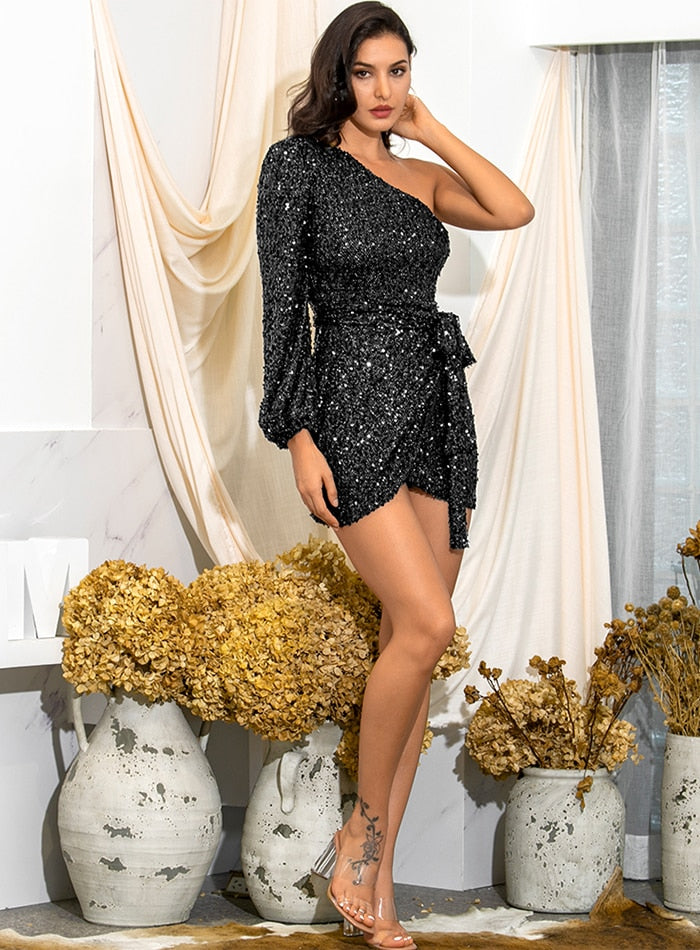 Sexy Black One Shoulder Mesh Sequins Lantern Sleeve Bodyon Cross Mini Dress LM82106