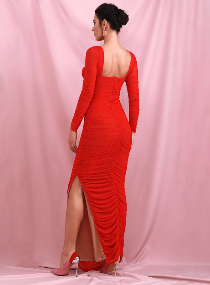 Red Tube Top Mesh Lined Contrast Slim Long Sleeves Side Split Maxi Dress LM82180